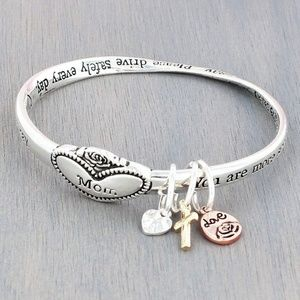 Mom Heart Silvertone Twist Band Bangle W/Charms